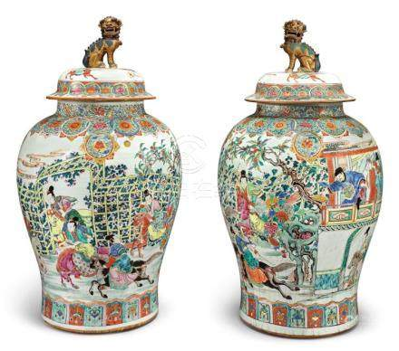 A PAIR OF RARE AND LARGE CHINESE FAMILLE-ROSE BALUSTER JARS