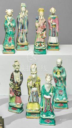 EIGHT CHINESE FAMILLE-ROSE FIGURES OF DAOIST IMMORTALS LATE
