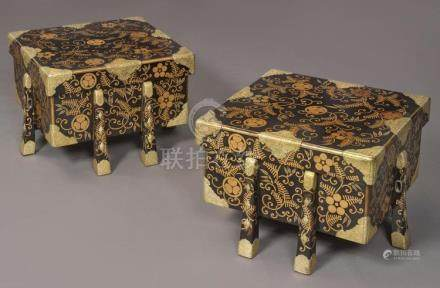 A PAIR OF JAPANESE BRASS-MOUNTED LACQUER KARABITSU (FOOTED S