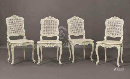 A SET OF FOUR LOUIS XV WHITE- AND GREEN-PAINTED CHAISES À LA
