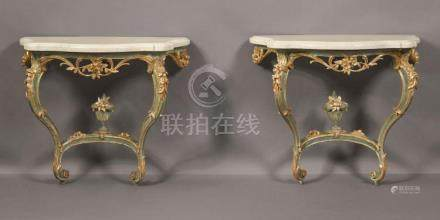 A PAIR OF ITALIAN ROCOCO GREEN-PAINTED AND PARCEL-GILT CONSO