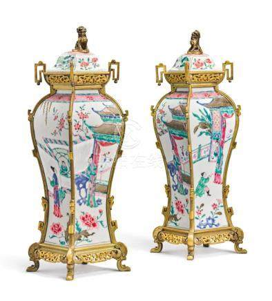 A PAIR OF CHINESE EXPORT ORMOLU-MOUNTED FAMILLE-ROSE BALUSTE