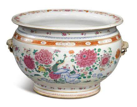 A LARGE CHINESE EXPORT FAMILLE-ROSE FISHBOWL  MID-18TH CENTU