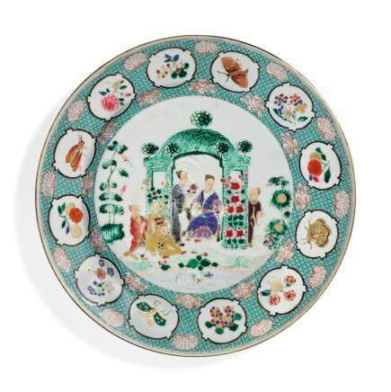 A CHINESE EXPORT FAMILLE-ROSE 'ARBOR'PATTERN PLATE CIRCA 17