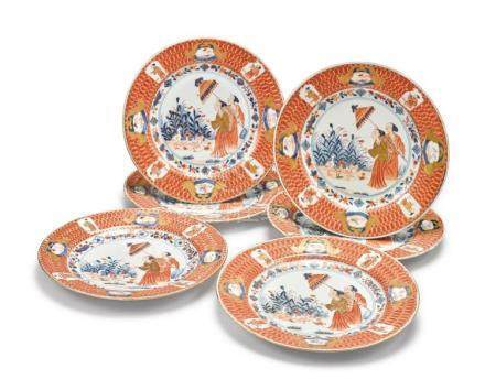 A SET OF SIX CHINESE EXPORT IMARI 'DAME AU PARASOL' PLATES C