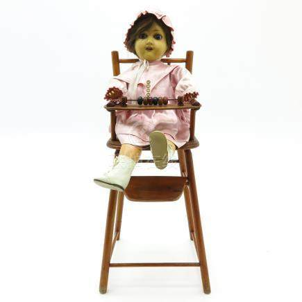 Vintage Doll in High Chair - 51BidLive-[HUGE 3 DAY PRIVATE ESTATE AUCTION DAY 1]