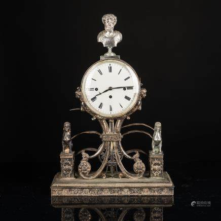 19th Antique Silver Plated Clock