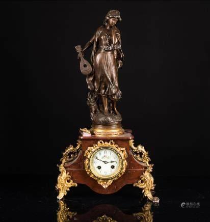 19th Antique Gilt Metal Clock with Bronze Figure