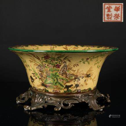 19th Antique Bronze Mounted Bowl