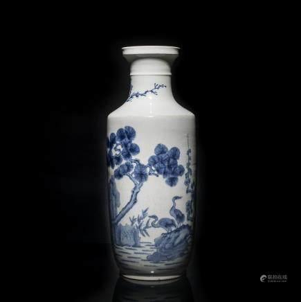 18th Antique Kangxi Blue & White Vase