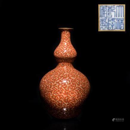 18th Antique Coral Red Vase