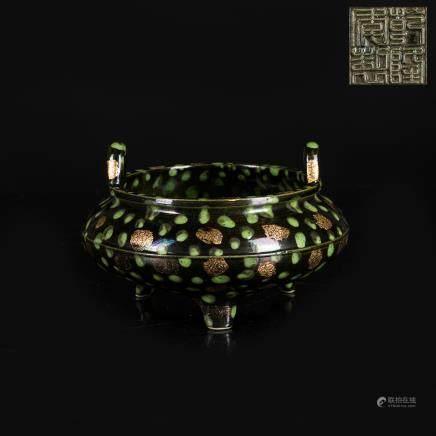 18th Antique Tripod Flambe Glazed Censer