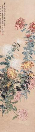 1927年作 菊寿延年 立轴 设色纸本