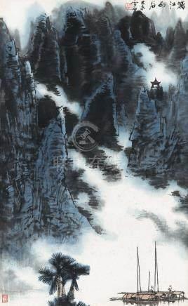 1979年作 漓江雨后 立轴 设色纸本