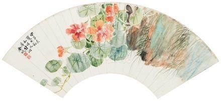 1924年作 花卉扇面 镜心 设色纸本