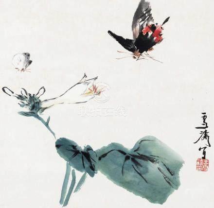 花蝶 立轴 设色纸本