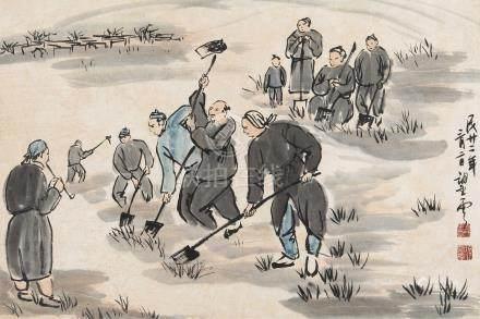 1933年作 农耕图 立轴 设色纸本