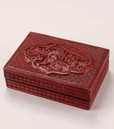 清 剔红楼阁人物纹长方盒