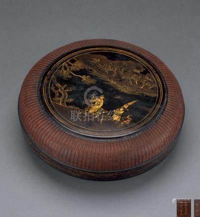 清康熙 竹编漆金食笼