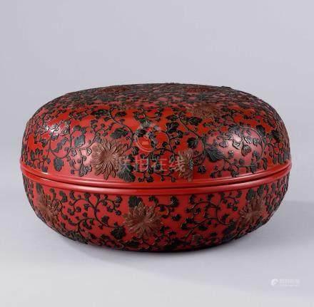 清乾隆 红底红花绿叶果子盒