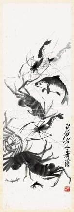 鱼蟹图 立轴 水墨纸本