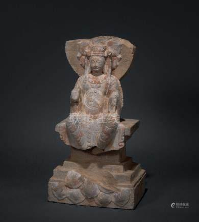 北齐 加彩阿弥陀佛石造像