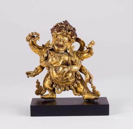 清 铜鎏金六臂大黑天金刚菩萨像
