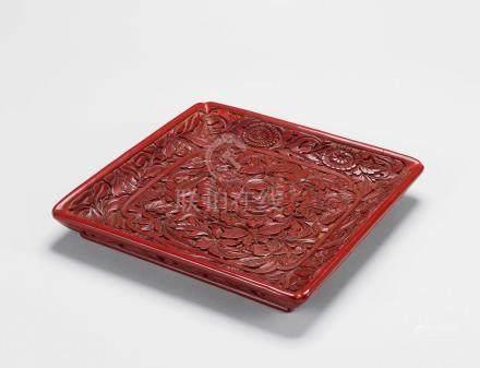 元 剔红牡丹纹方盘