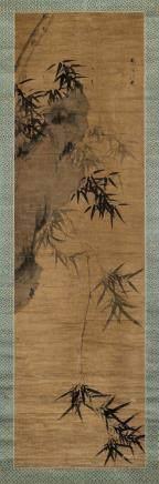 竹石图 立轴 水墨绫本