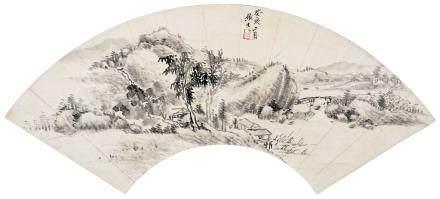 1803年作 山水 立轴 水墨纸本