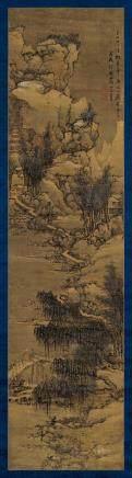 1658年作 西湖雪景 立轴 设色绢本