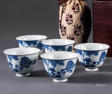 清 青花花卉纹煎茶碗