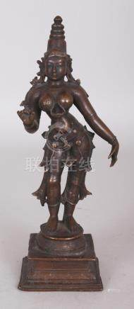 A Bronze Figure of a Goddess, probably Parvati, South India,
