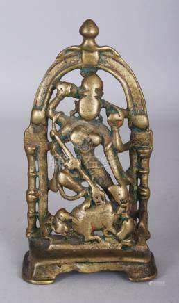 A Brass Shrine Depicting Durga Slaying the Buffalo Demon, (M