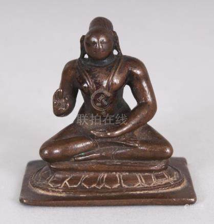 A Small Bronze Figure of a Tamil Saint, South India, 18th/19