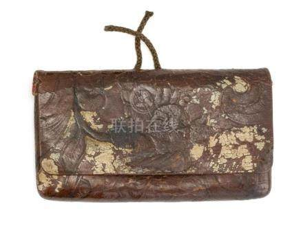 JAPANESE TOOLED LEATHER TOBACCO POUCH With iron kanemono in
