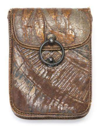 JAPANESE TOOLED LEATHER TOBACCO POUCH With gilt and gray flo