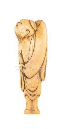 JAPANESE IVORY NETSUKE Depicting a standing sage