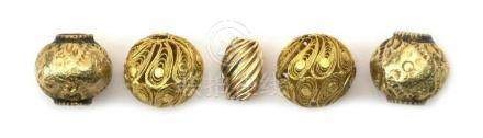 JAPANESE FIVE GOLD BEADS Possibly used as ojime