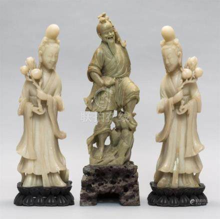 THREE CHINESE SOAPSTONE FIGURES 1-2) Pair of white Guanyin f