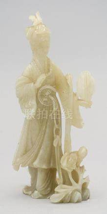 CHINESE JADE FIGURE OF GUANYIN With a bird on her head and h