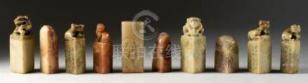 COLLECTION OF TEN CHINESE SOAPSTONE SEALS Six with animalist