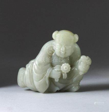 CHINESE GRAY-WHITE JADE CARVING In the form of a child holdi