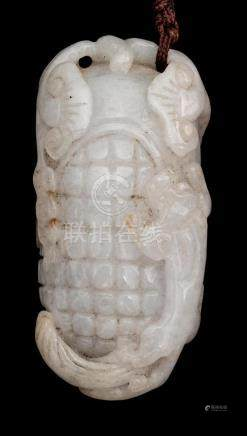 CHINESE GRAY JADE PENDANT In the form of a fruit with relief