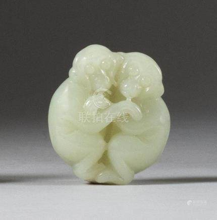 CHINESE WHITE JADE CARVING In the form of two embracing monk