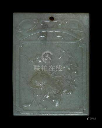 CHINESE CELADON JADE PENDANT In rectangular form. With bat a
