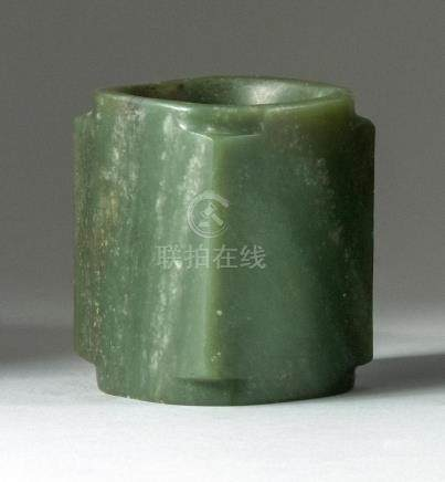 CHINESE SAGE GREEN JADE ZUN In rectangular form with cylindr