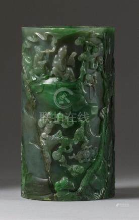 CHINESE SPINACH GREEN JADE BRUSH POT In cylinder form. With