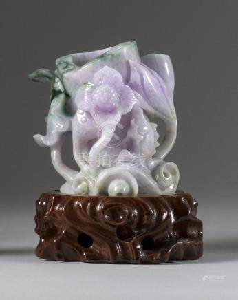 CHINESE LAVENDER AND GREEN JADEITE VASE In the form of fish