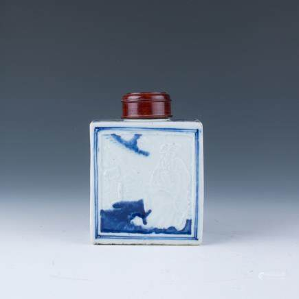 A Blue and White Porcelain Tea Caddy